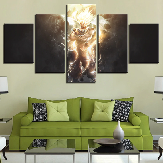 5 Pieces Dark Night Goku Ultra Instinct Canvas Wall Art - DBZ Shop