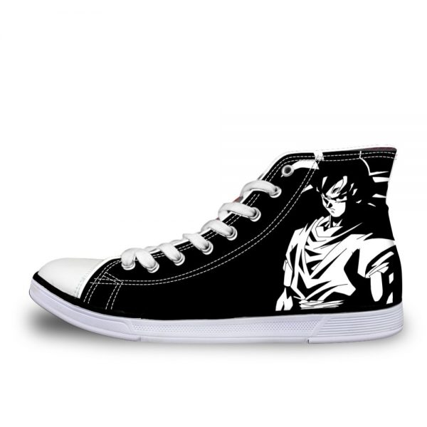 FORUDESIGNS New Dragon Ball Z Print Mens High top Vulcanized Shoes Black Super Saiyan Son Goku 1 - DBZ Shop