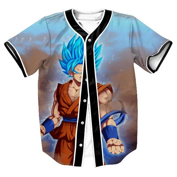 Goku Blue Summer Casual Baseball Jersey - DBZ Shop