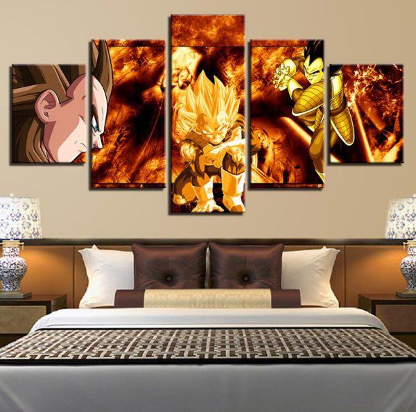Modular Painting HD Prints Home Wedding Decoration 5 Pieces Dragon Ball Goku Canvas Animation Wall Art - DBZ Shop