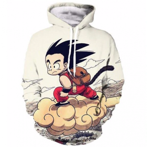 Flying Cute Kid Goku Cloud DBZ Hoodie