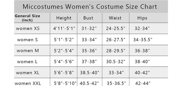 Women costume size chart - DBZ Shop