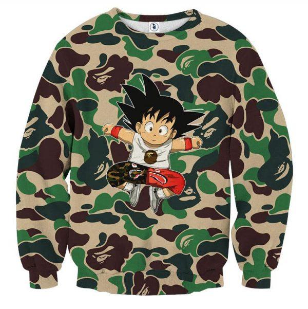 01 Cute Jumping Kid Goku Camouflage Fashion Sweatshirt - DBZ Shop