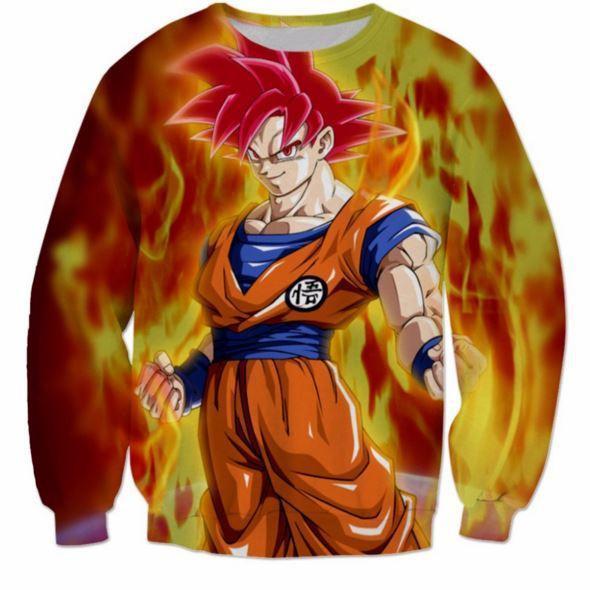 3D Printed Dragon Ball Goku Fire Flame Sweatshirt 1 - DBZ Shop