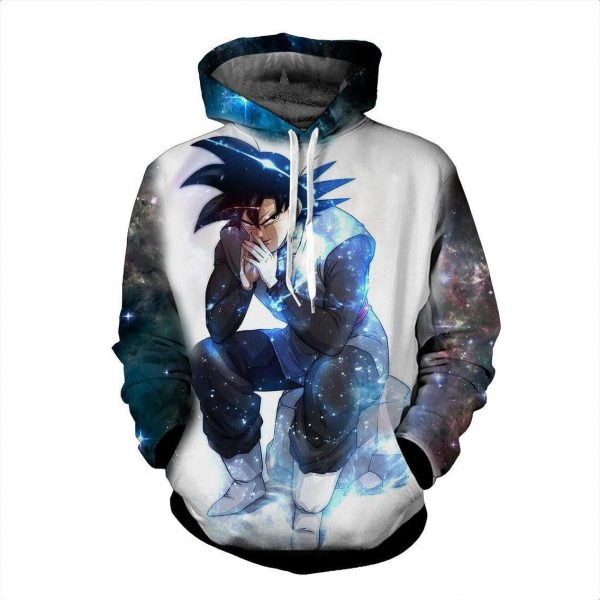 Blue Aura Evil Bad Sitting Goku Black Villain Dragon Ball Super Hoodie - DBZ Shop