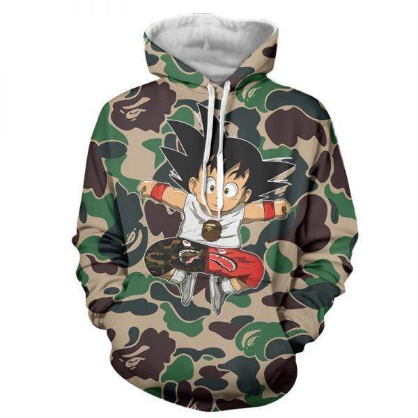 Cute Jumping Kid Goku Cameo Camouflage Streetwear Hoodie - DBZ Shop