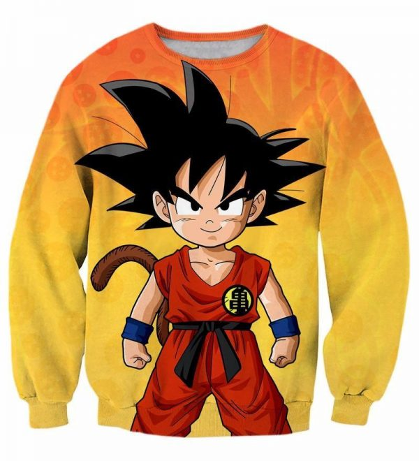 Cute Young Kid Goku Yellow Dragon Ball 3D Crewneck Yellow Sweatshirt - DBZ Shop