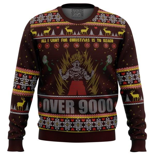 DBZ Goku Over 9000 Dragon Ball Z men sweatshirt FRONT mockup - DBZ Shop