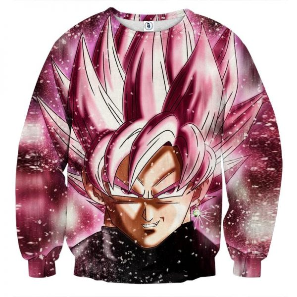 Dragon Ball Super Saiyan Goku Black Rose Pink Sweatshirt  2 - DBZ Shop