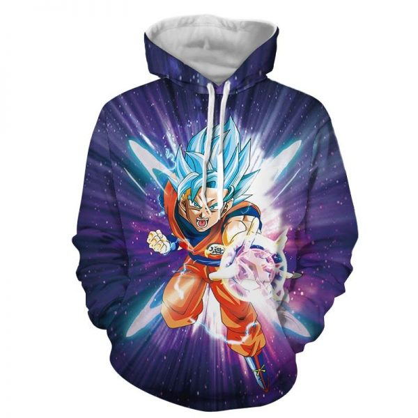 Dragon Ball Z Electrifying Goku Blue Hair God Form Hoodiemin - DBZ Shop