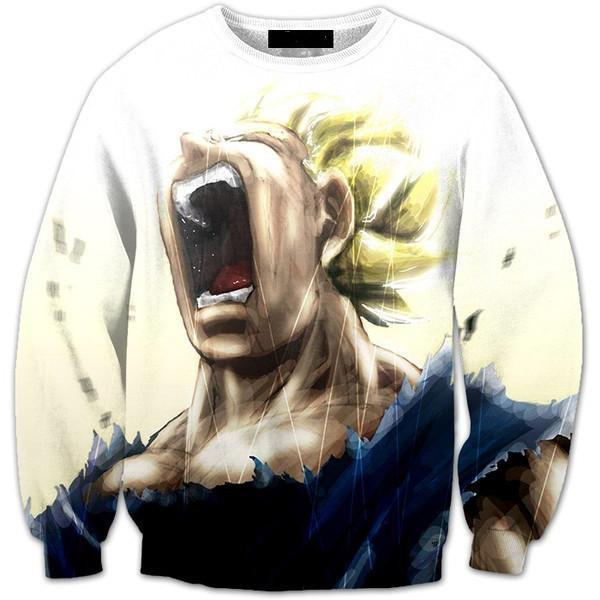 Pissed Off Angry Super Saiyan Vegeta Gets Mad Crewneck Sweatshirt - DBZ Shop