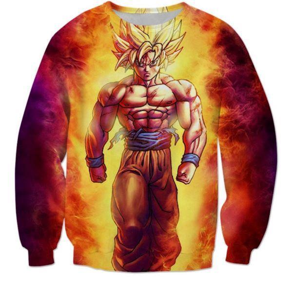 SSJ2 Son Goku Super Saiyan 2 Flame Fire 3D Sweatshirt 1 - DBZ Shop