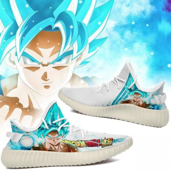 son goku saiyan blue yeezy shoes dragon ball super perfect gift for fan gearanime - DBZ Shop